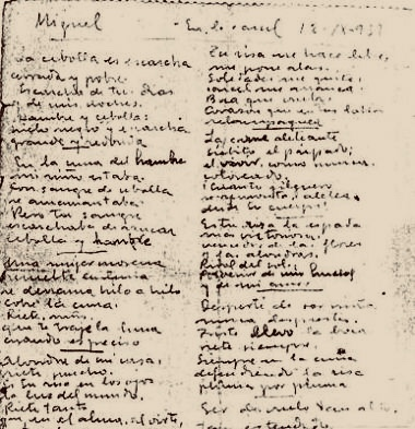 rukopis Miguela Hernandéza